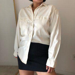 Beige button front jacket layering shirt